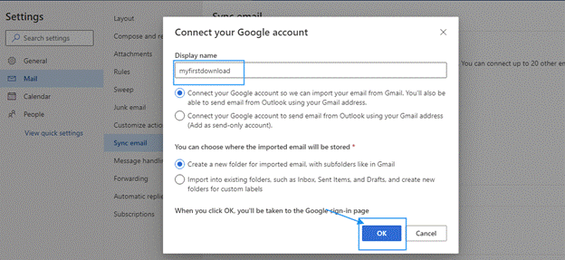 Gmail and click on the Sync Email