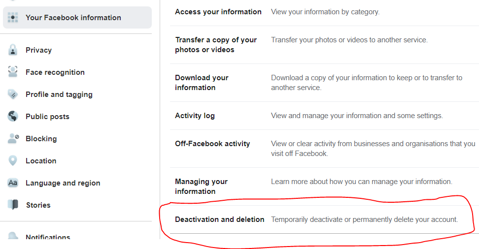 Tap on Deactivation and Deletion