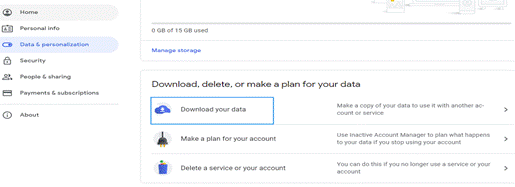 choose the option to download your data