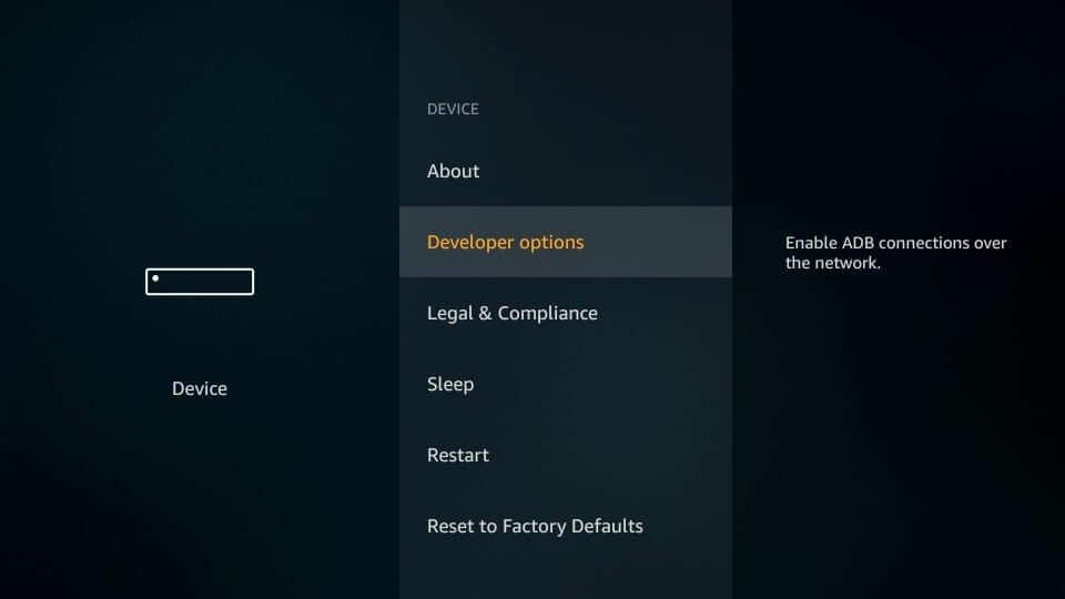 navigate to the Developer Options