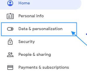 option Data and Personalization and click on it