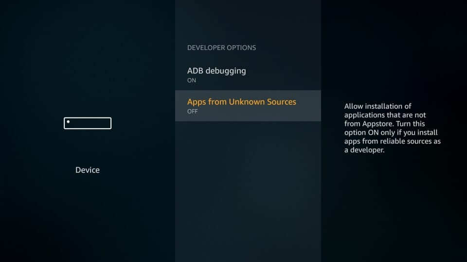 you should enable the Apps from Unknown Sources option