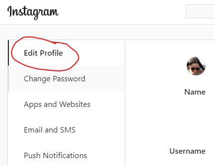 click profile edit