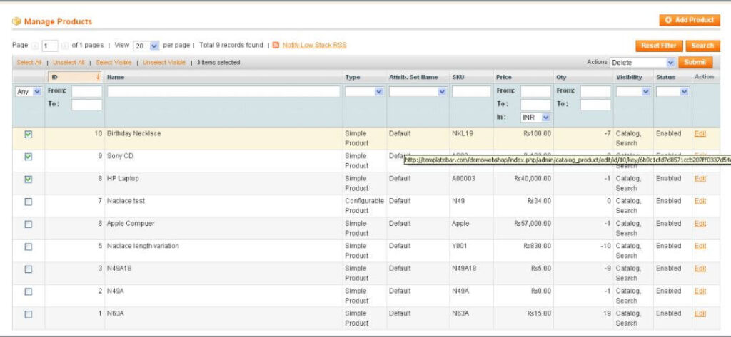 Deleting a product from Magento