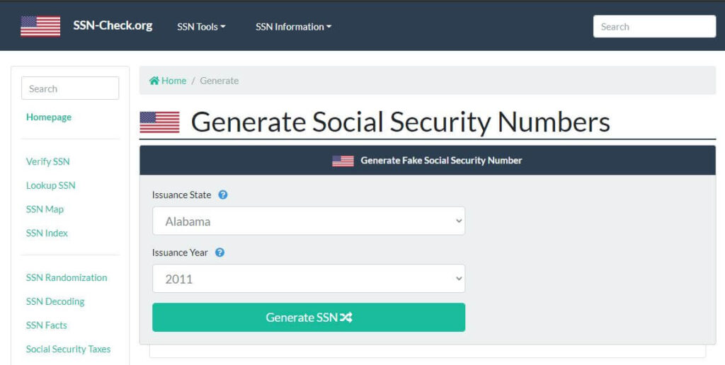 Social Security Number Generator Tools SSN-Check