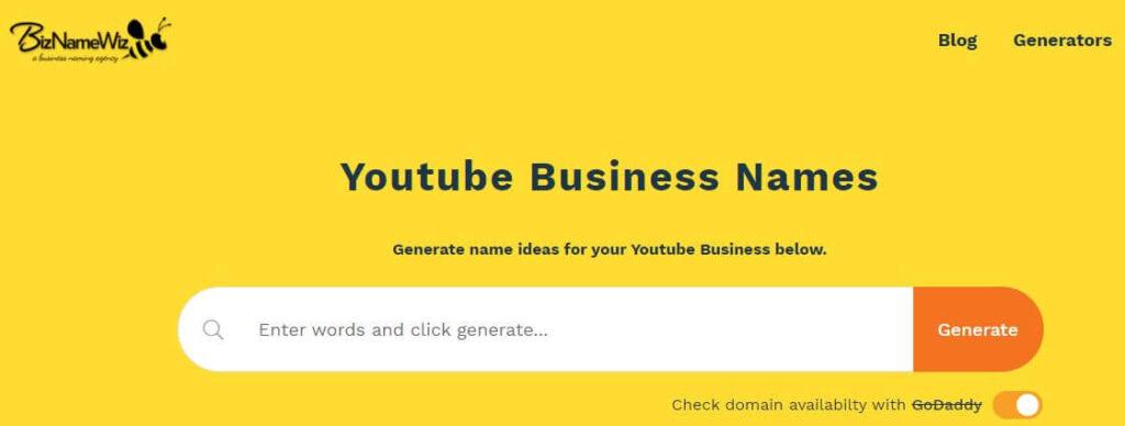 biznamewiz- Generate YouTube Channel Name