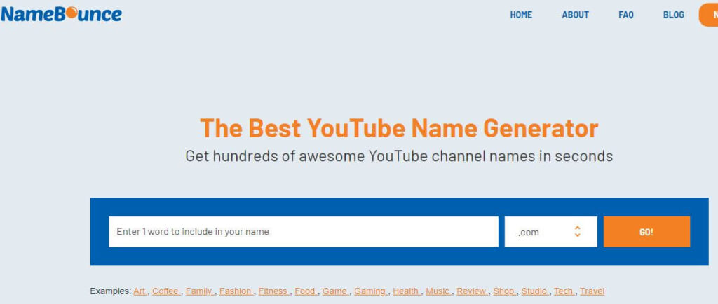 namebounce- Generate YouTube Channel Name