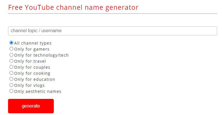 socialvideoplaza- Generate YouTube Channel Name