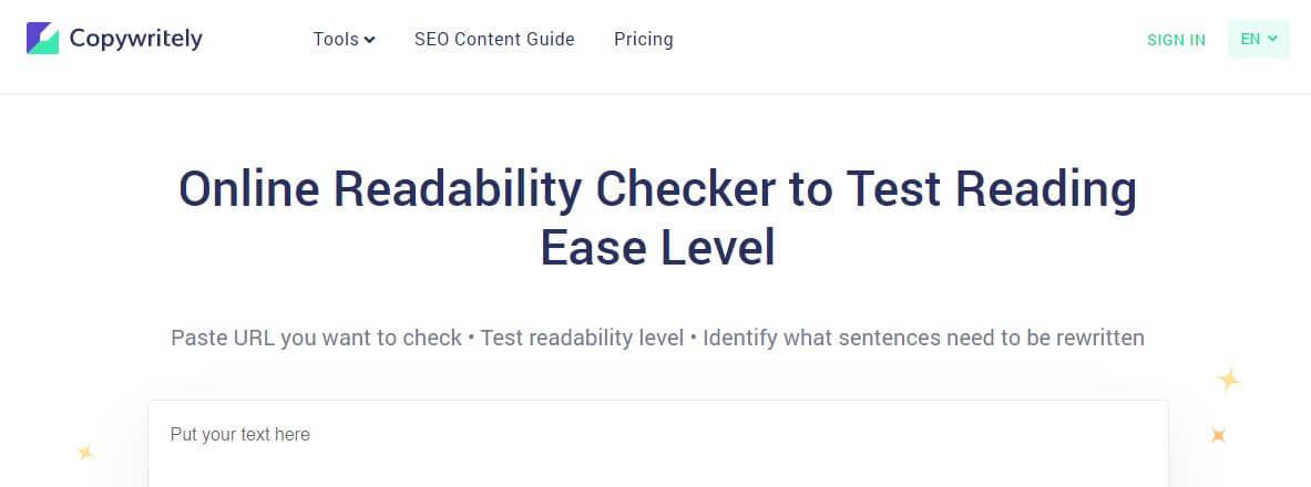 copywritely-Best Free SEO Content Readability Checker Tools Online