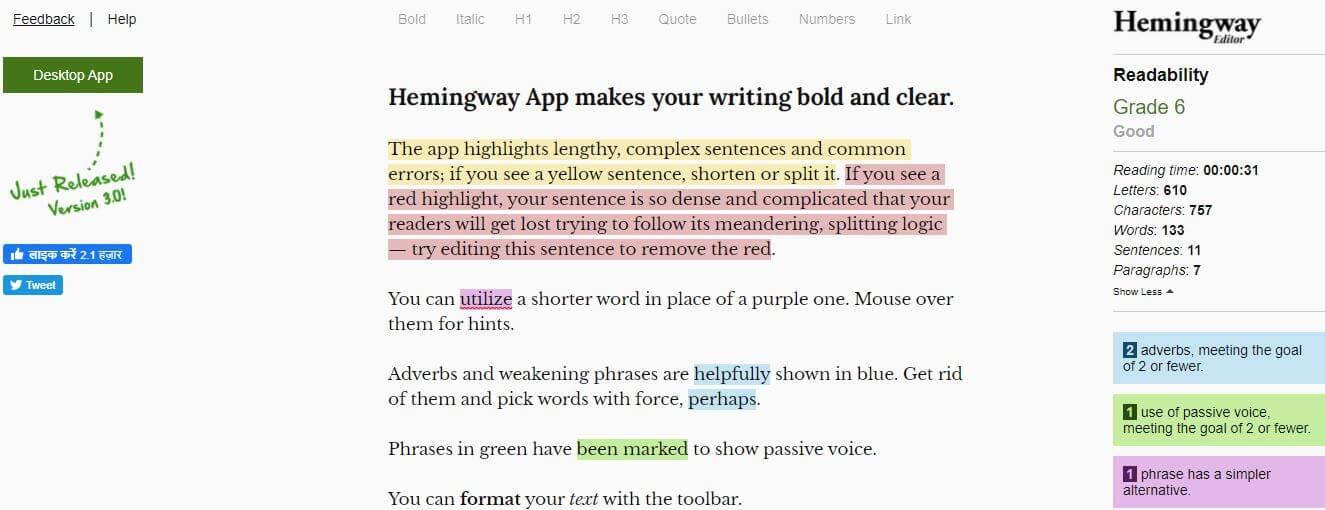hemingwayapp-Best Free SEO Content Readability Checker Tools Online