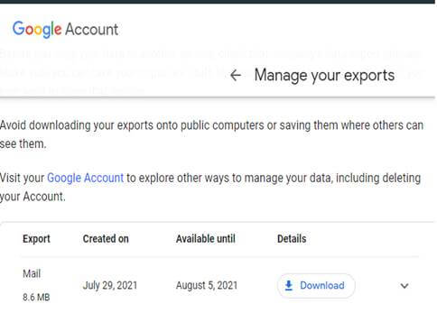 export completion confirmation